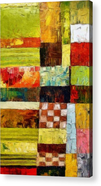 Patchwork Acrylic Print featuring the painting Abstract Color Study With Checkerboard And Stripes by Michelle Calkins