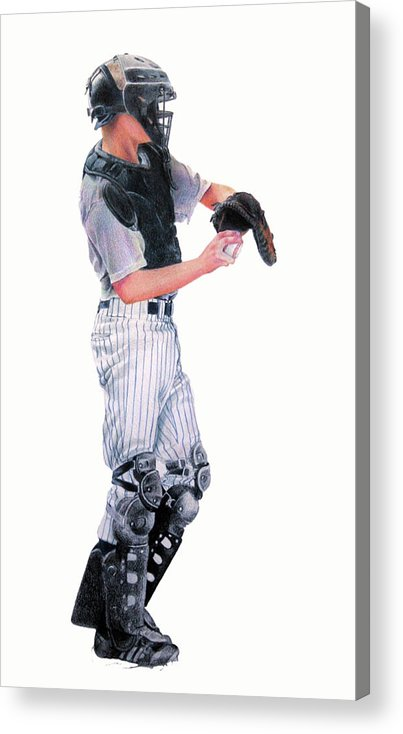 Baseball Acrylic Print featuring the drawing Behind The Plate by Catherine Henry