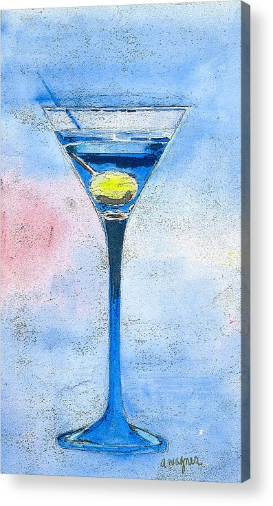 Martini Acrylic Print featuring the painting Blue Martini by Arline Wagner