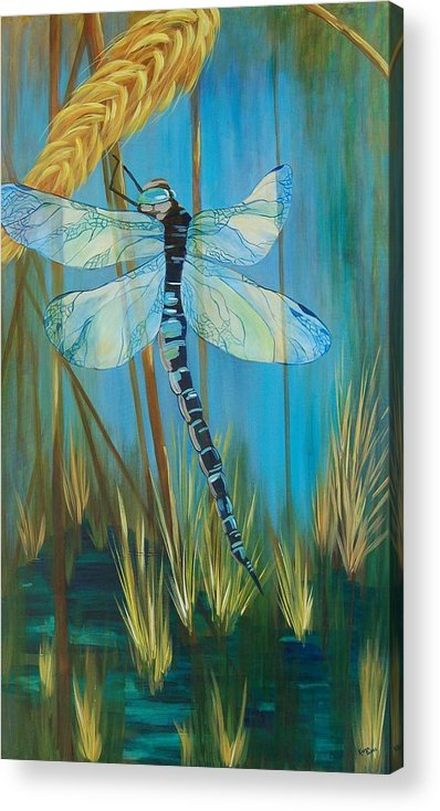 Dragonfly Acrylic Print featuring the painting Dragonfly Fantasy by Karen Dukes