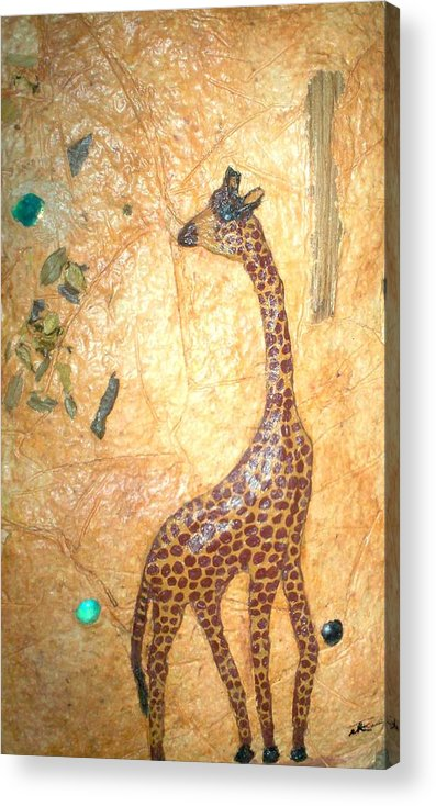 Giraffe Acrylic Print featuring the mixed media Giraffe  Sold by Tinsu Kasai