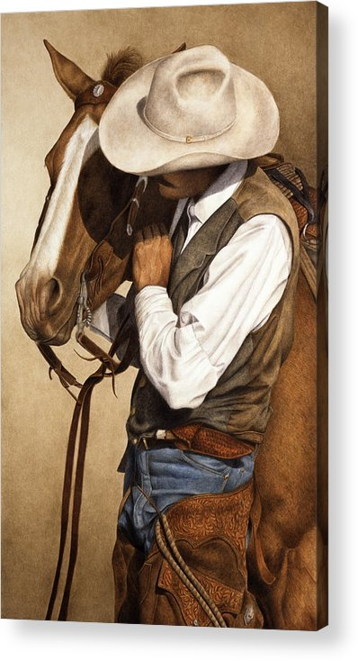 Western Acrylic Print featuring the painting Long Time Partners by Pat Erickson