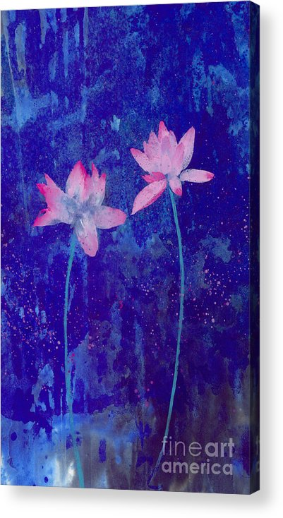Free Style Pink Lotus Flowers In Bluish Background. This Is A Contemporary Chinese Ink And Color On Rice Paper Painting With Simple Zen Style Brush Strokes.  Acrylic Print featuring the painting Lotus I by Mui-Joo Wee