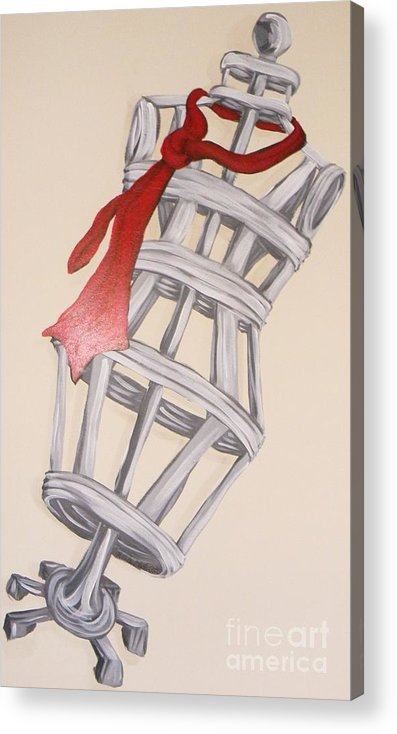 Mannequin Acrylic Print featuring the painting Mannequin With Red Tie by Michelle Black