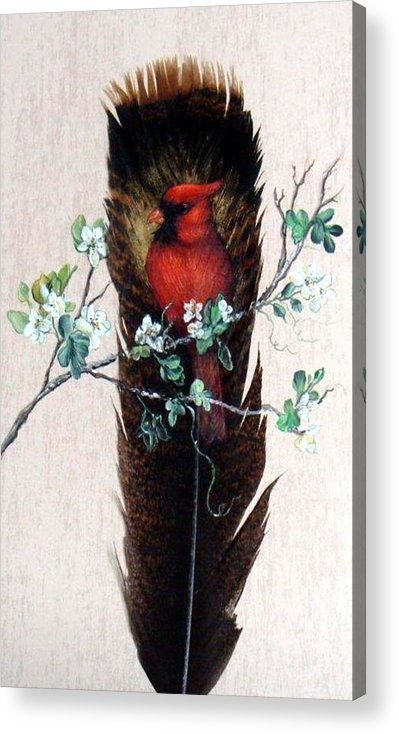 Red Acrylic Print featuring the painting Red Cardinal by Theresa Jefferson