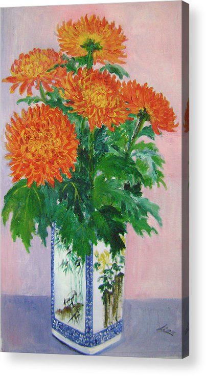 Floral Acrylic Print featuring the painting Red Chrysanthemums by Lian Zhen