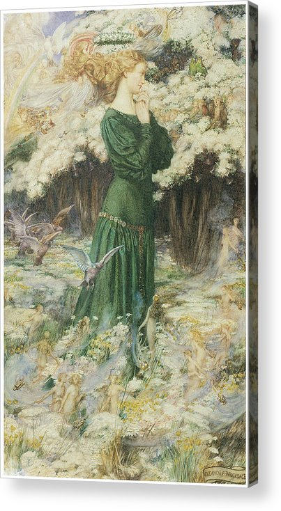 Eleanor Fortescue-brickdale Acrylic Print featuring the painting The Lover's World by Eleanor Fortescue-Brickdale