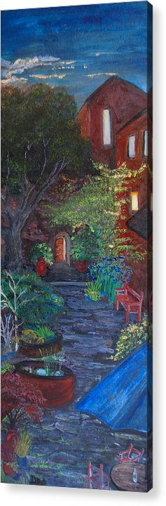 Villa Acrylic Print featuring the painting Sunset At The Villa by Dixie Adams