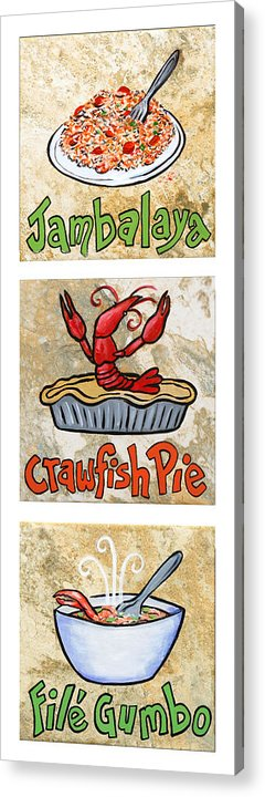 Jambalaya Acrylic Print featuring the painting Cajun Trio White by Elaine Hodges