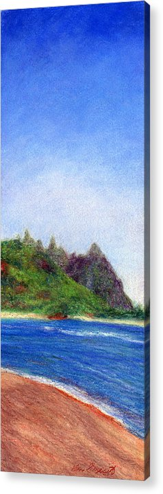 Rainbow Colors Pastel Acrylic Print featuring the painting Tunnels Beach View by Kenneth Grzesik
