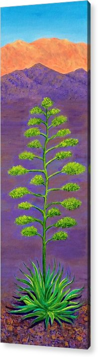 Landscape Acrylic Print featuring the painting In Agave Davida 2 by Randall Weidner