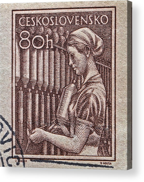 1954 Acrylic Print featuring the photograph 1954 Czechoslovakian Textile Worker Stamp by Bill Owen