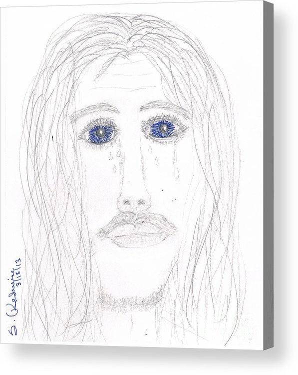 Jesus Acrylic Print featuring the drawing His Tears by Shannon Redwine