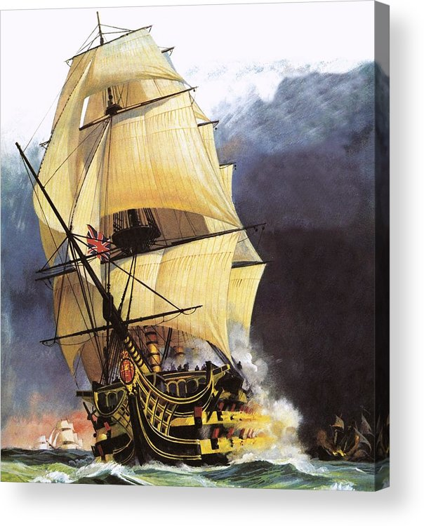 Hms Victory Acrylic Print featuring the painting Hms Victory by Andrew Howat