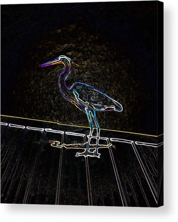 Computer Graphics Acrylic Print featuring the photograph Shake It Off - Electrified Blue Heron by Marian Bell