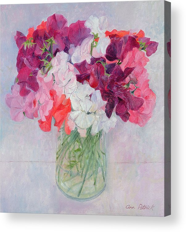 Pea Acrylic Print featuring the painting Sweet Peas by Ann Patrick