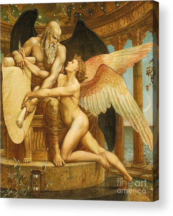 Roll; Fate; Destiny; Time; Youth; Life; Male; Nude; Nudes; Young; Naked; Father Time; Wings; Winged; Beauty; Blank; Pen; Quill; Throne; Enthrones; Hourglass; Laurel; Fame; Allegory; Allegorical; Neoclassical; Neo-classical; Neo Classical; Gilt Frame; Frame; Framed; Poem; Plea; Pleading; Appeal; Unwritten; Inevitable; The Future; History; The Rubaiyat Of Omar Khayyam; Illustration; Literature; Edward Fitzgerald; Rubaiyat; Omar Khayyam Acrylic Print featuring the painting The Roll Of Fate by Walter Crane