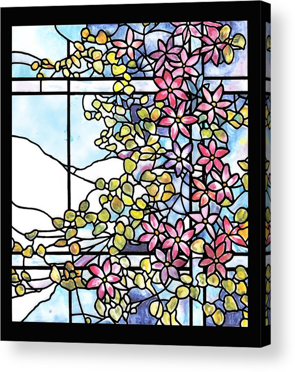 Clematis Acrylic Print featuring the painting Stained Glass Tiffany Floral Skylight - Fenway Gate by Donna Walsh