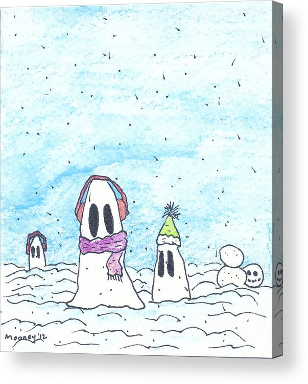 Watercolor Drawing Acrylic Print featuring the drawing Ghost In Snow by Michael Mooney
