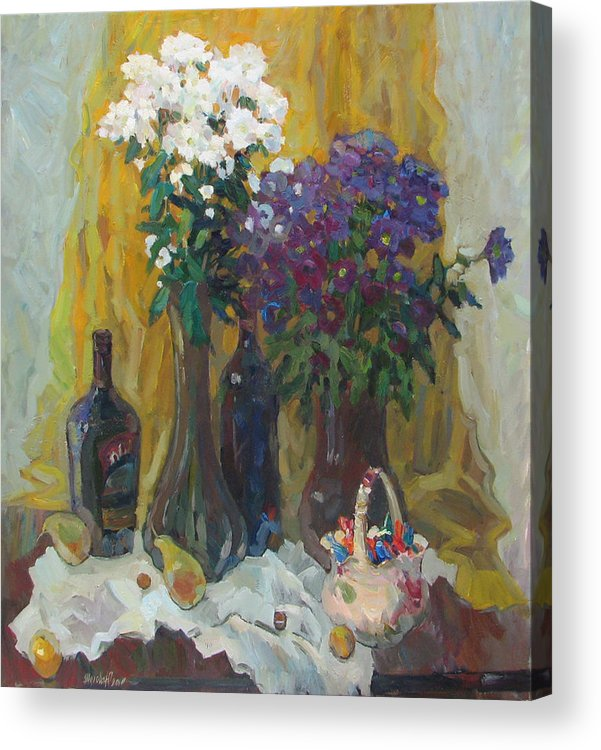 Holiday Acrylic Print featuring the painting Holiday Still Life by Juliya Zhukova