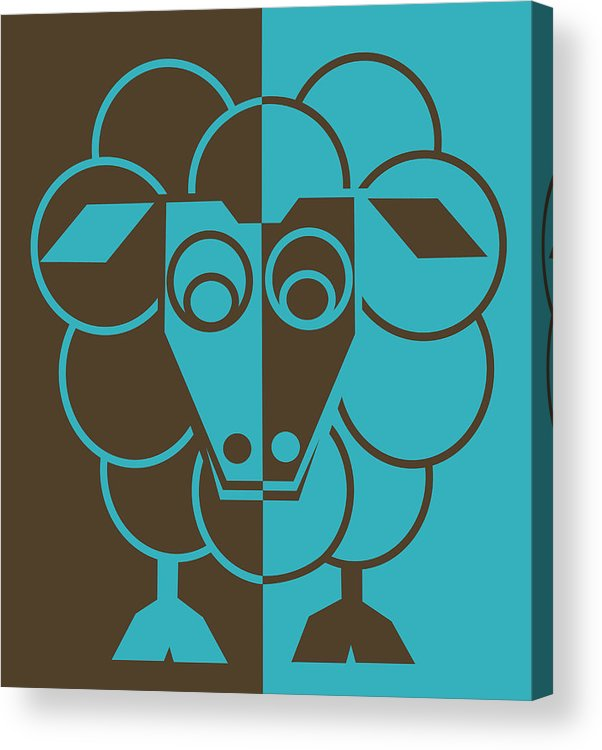 Heep Acrylic Print featuring the painting Sleep-sheep - Lonvig By Minymo by Asbjorn Lonvig
