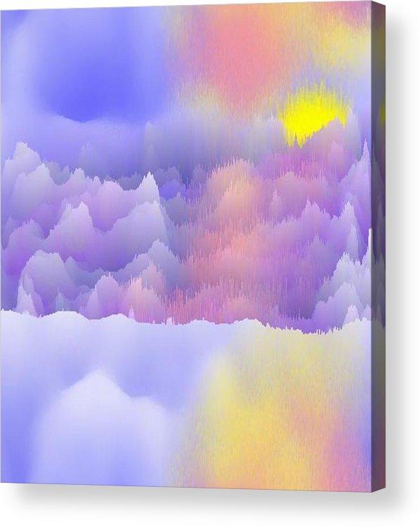 Sky.polar Lights.entire Day Is The Sun.river.ice.snow. The Ice-hummocks.  Acrylic Print featuring the digital art Alaska.yukon.cold. by Dr Loifer Vladimir