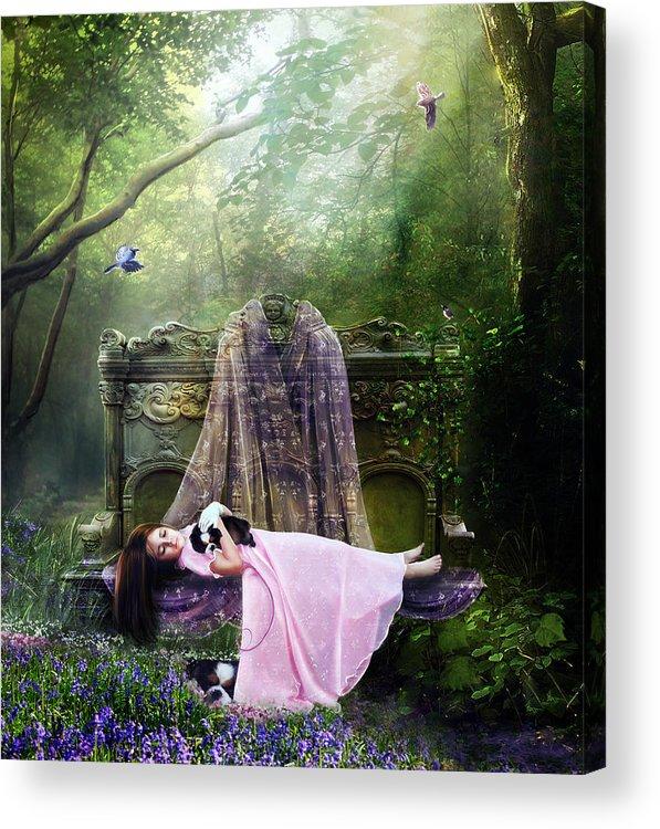 Girl Acrylic Print featuring the digital art Bluebell Dreams by Mary Hood