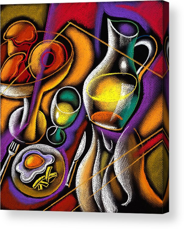 Balance Breakfast Cafe Carry Carrying Close Up Close-up Coffee Coffee Cup Color Color Image Colour Cup Dish Drawing Drink Food Food And Drink Fruit Glass Hand Healthy Eating High Angle High Angle View Hold Holding Illustration Illustration And Painting Juice One One Person People Person Plate Platter Restaurant Server Service Serving Tray Unrecognizable Person Vertical Waiter Decorative Painting Abstract Art Acrylic Print featuring the painting Breakfast by Leon Zernitsky