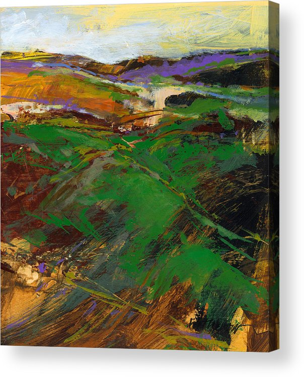 Knife Painting Acrylic Print featuring the painting Cloud Farm by Dale Witherow