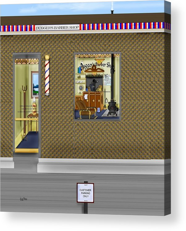 Townscape Acrylic Print featuring the painting Dugger's Barber Shop by Anne Norskog