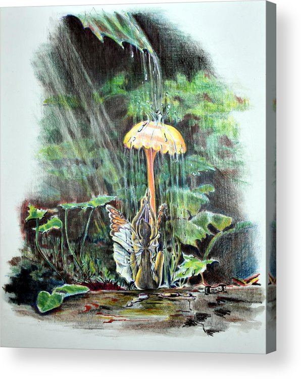Fairy Acrylic Print featuring the drawing Fairy Shower by Susan Moore