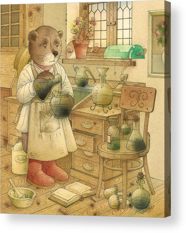 Bears Magic Glamour Brown Acrylic Print featuring the painting Florentius The Gardener18 by Kestutis Kasparavicius