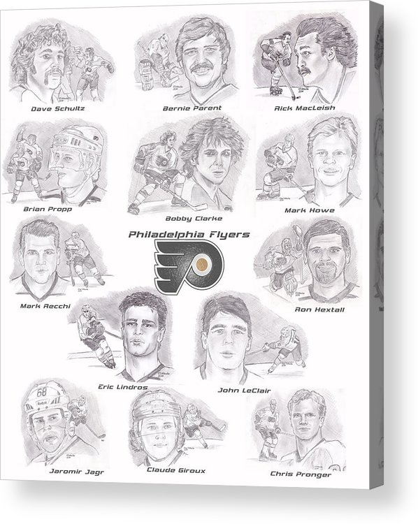 Philadelphia Flyers Acrylic Print featuring the drawing Flyer Greats by Chris DelVecchio