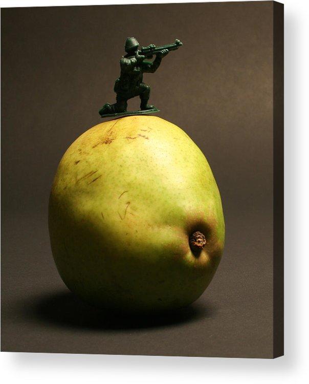 Pear Acrylic Print featuring the photograph Fruit Warfare by Bryan Hochman