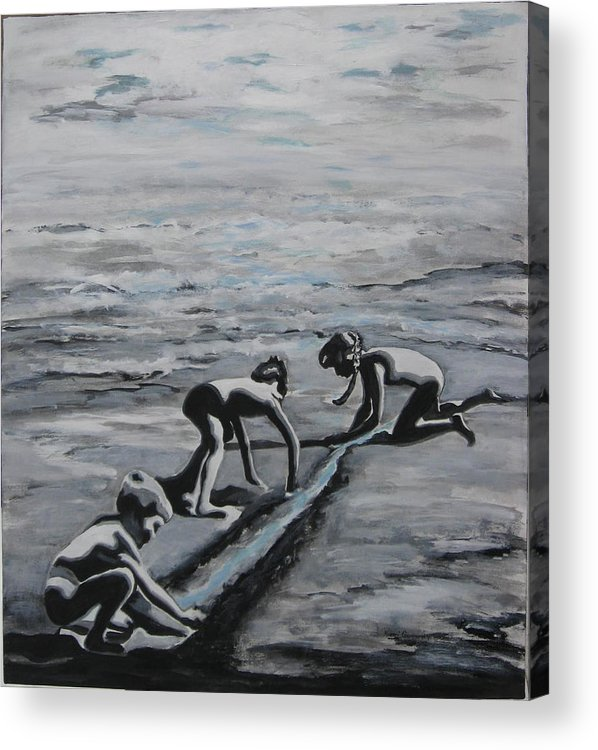 Children Playing On The Beach Acrylic Print featuring the painting Harnessing The Ocean by Naomi Gerrard