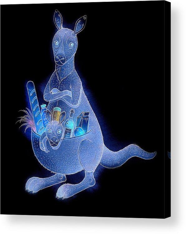 Kangaroo Animals Australia House Jumping Food Acrylic Print featuring the painting Kangaroo 02 by Kestutis Kasparavicius