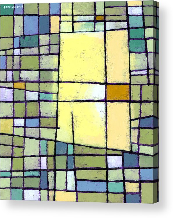 Abstract Acrylic Print featuring the painting Lemon Squeeze by Douglas Simonson