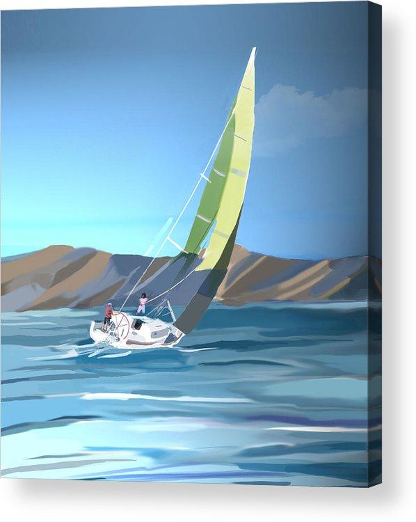 Sailing Acrylic Print featuring the digital art Sailing by Marcelo Romero