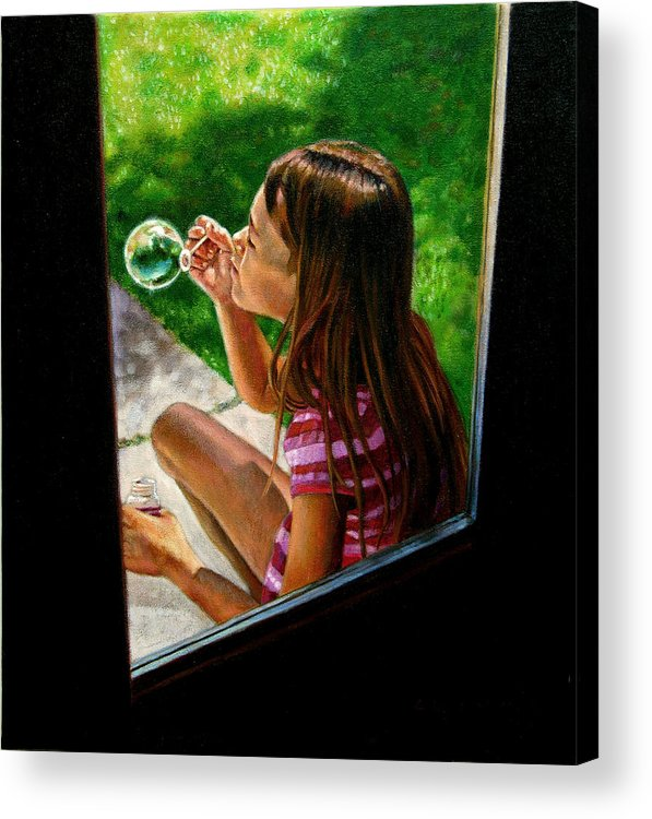 Girl Acrylic Print featuring the painting Sierra Blowing Bubbles by John Lautermilch
