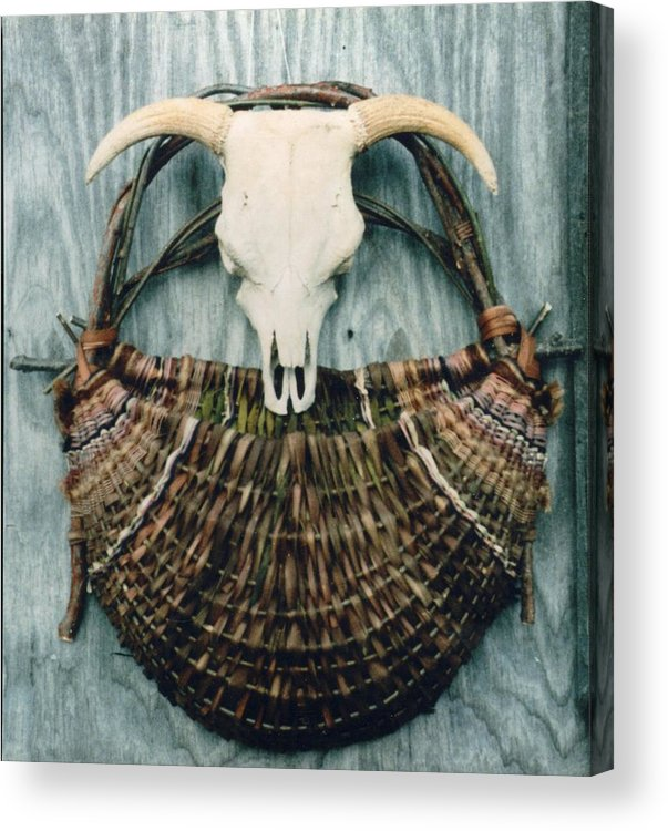 Wall Basket Acrylic Print featuring the mixed media Skull Basket by Stephen Hawks