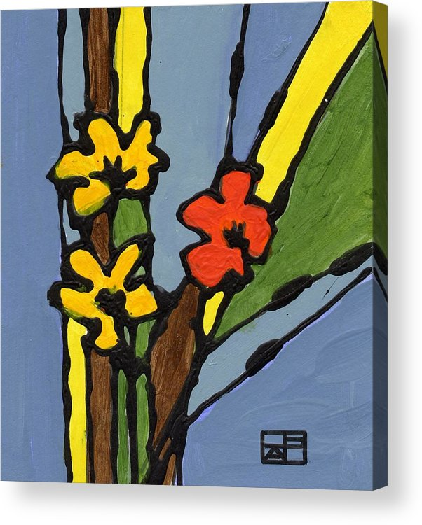 Flowers Acrylic Print featuring the painting Yellow And Red Flower by Helen Pisarek