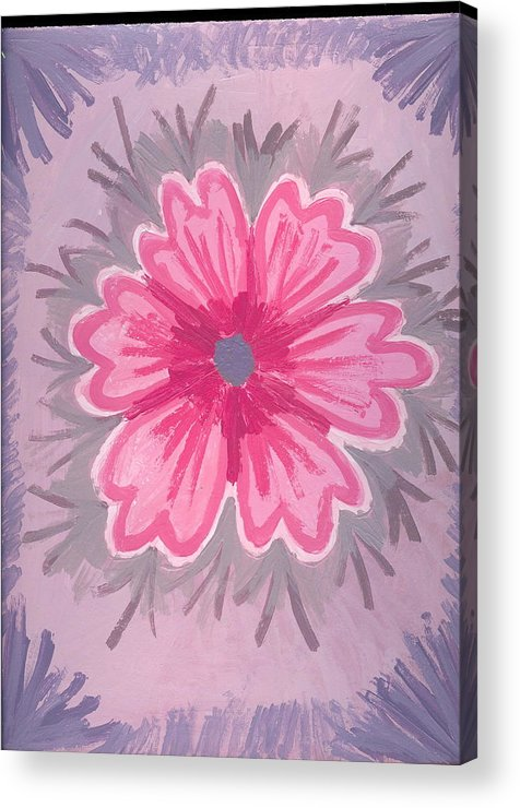 Flower Acrylic Print featuring the painting Bubblegum by Laura Lillo