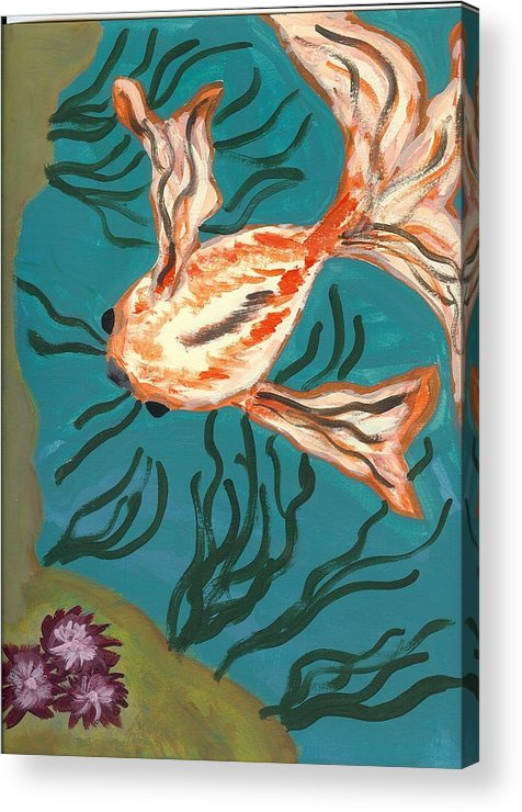 Fish Acrylic Print featuring the painting Here Fishy Fishy by Laura Lillo