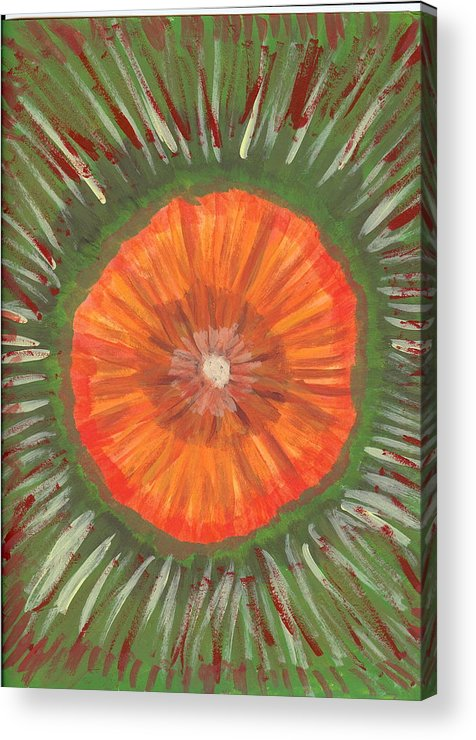 Flower Acrylic Print featuring the painting In The Middle Of It All by Laura Lillo