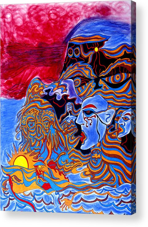 Abstract Acrylic Print featuring the print Shaman Of The Red Sky by William Watson