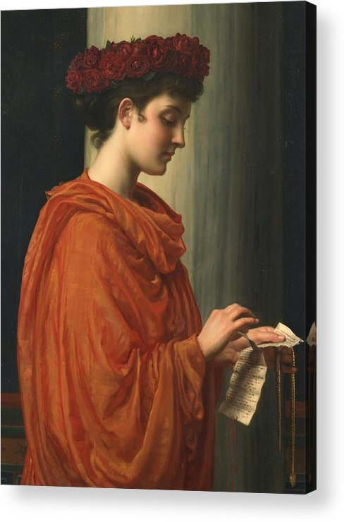 Female; Literature; Poetry; Character; Horace; Odes; Barine; Beauty; Note; Letter; Tearing; Ripping; Profile; Portrait Acrylic Print featuring the painting Barine by Sir Edward John Poynter