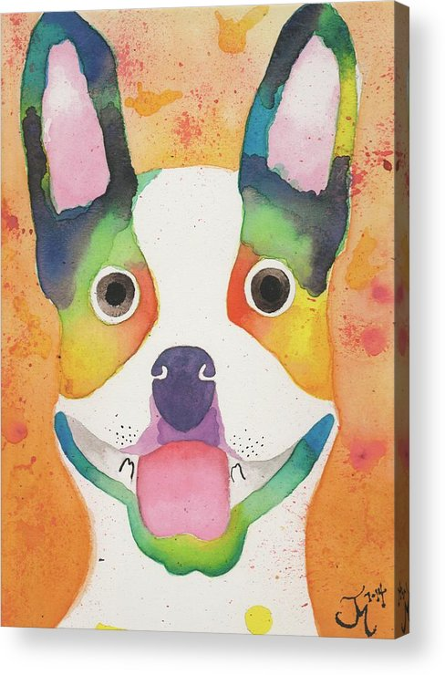 Boston Terrier Acrylic Print featuring the painting Basil by Kat Meza