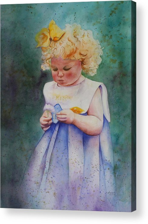 Child Acrylic Print featuring the painting Maggie's Dandelion by Patsy Sharpe
