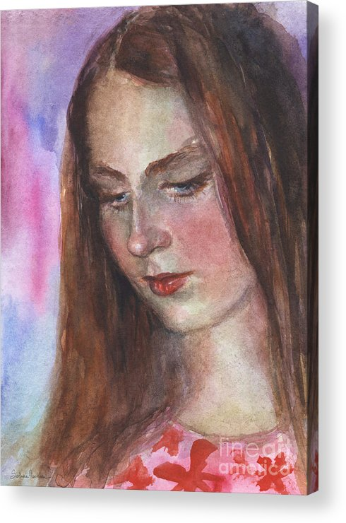 Girl 3 Acrylic Print featuring the painting Young Woman Watercolor Portrait Painting by Svetlana Novikova