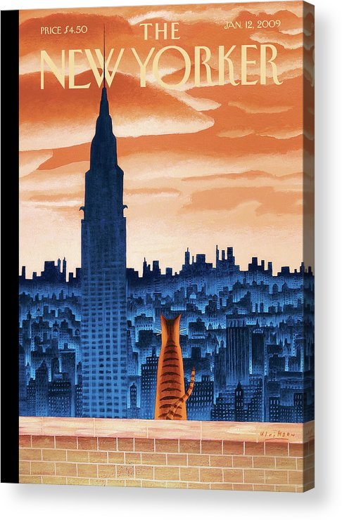 Nyc Acrylic Print featuring the painting New Yorker January 12th, 2009 by Mark Ulriksen